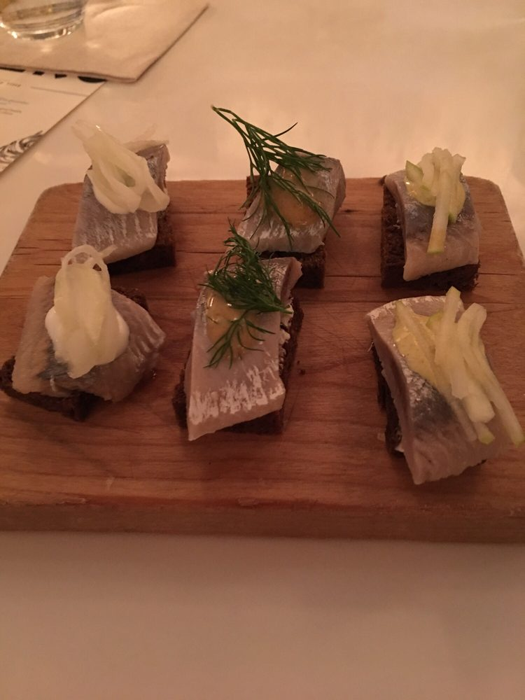 Herring On Pumpernickel With Three Different Sauces Yelp