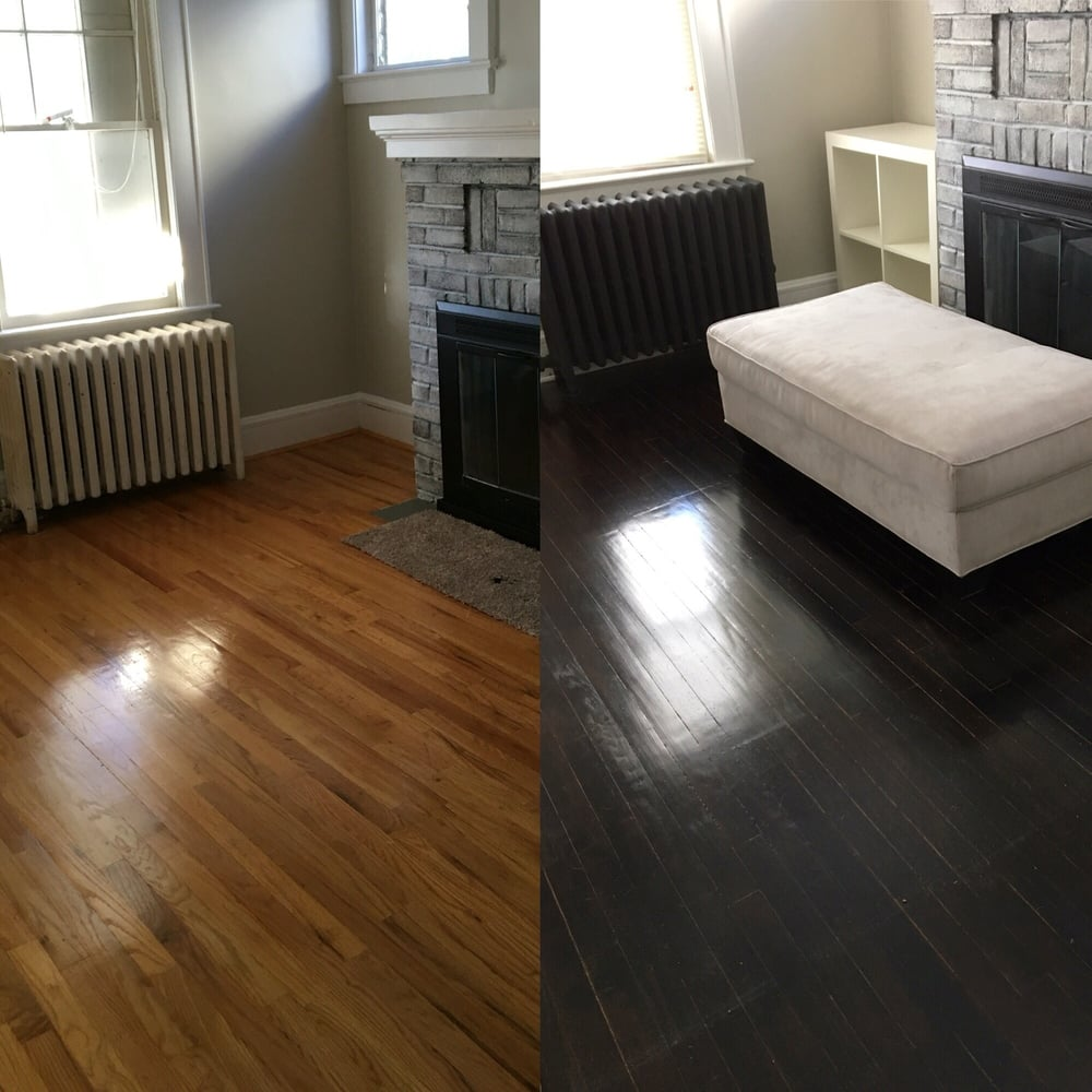 Before And After Of Hardwood Floor Refinishing With A Dark
