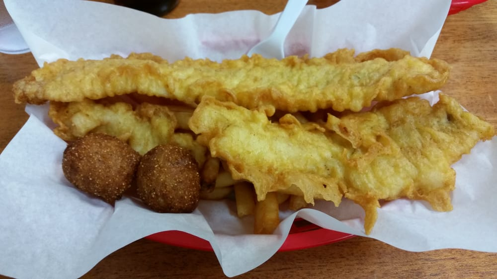 Two Piece Fish And Chips With Hush Puppies Yelp