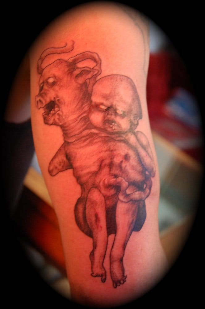 Evil baby by jordan yelp for Hell or high water tattoo