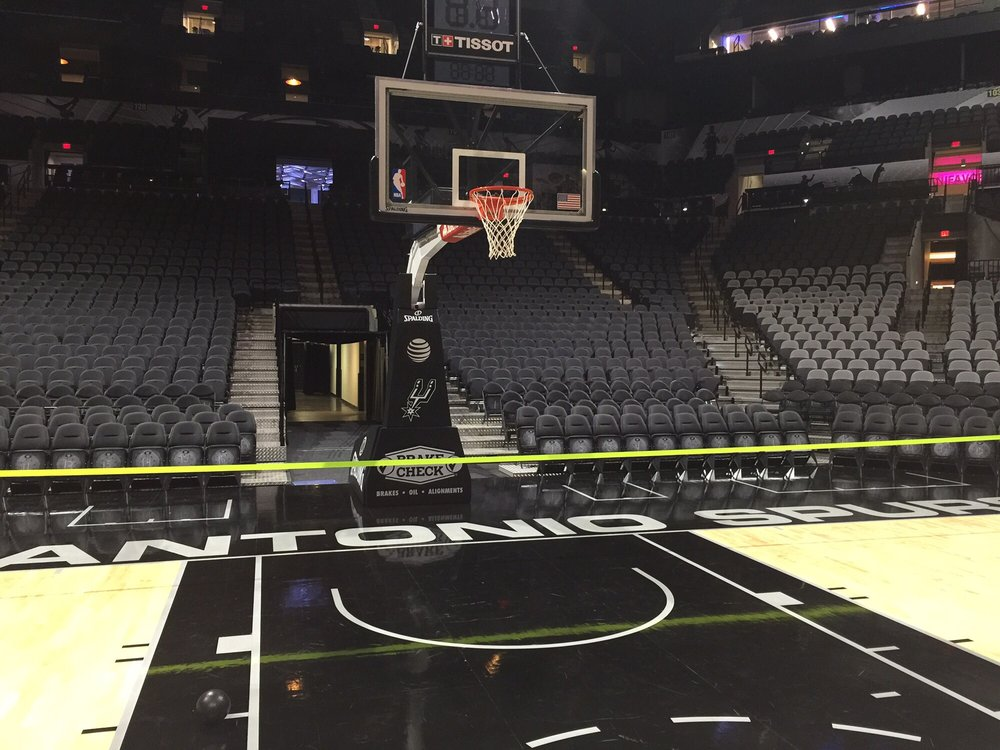 An empty at t center peace and quiet courtside or on the for Dining near at t center san antonio