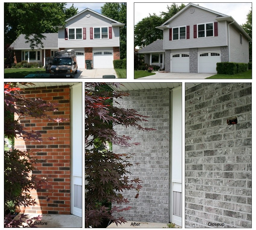 Exterior brick staining in hoffman estates il client for Before after exterior 1930