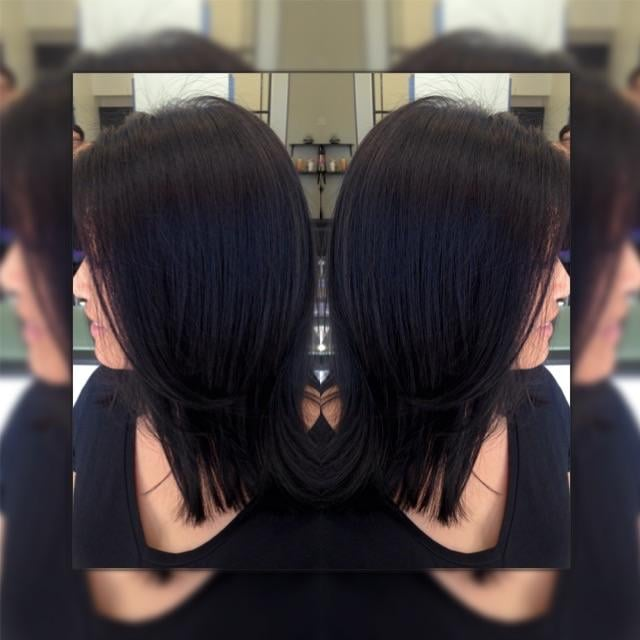 Beautiful Dark Violet Brown Hair Color With A Long Bob - Hair colour violet brown