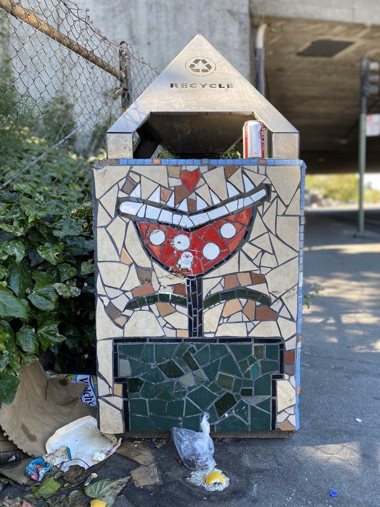Mosaic Trash Cans: Adams Point, Oakland, CA