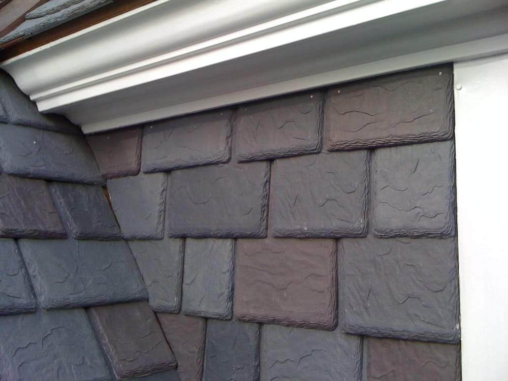 These dormer walls were sided with davinci artificial for Davinci slate roof reviews