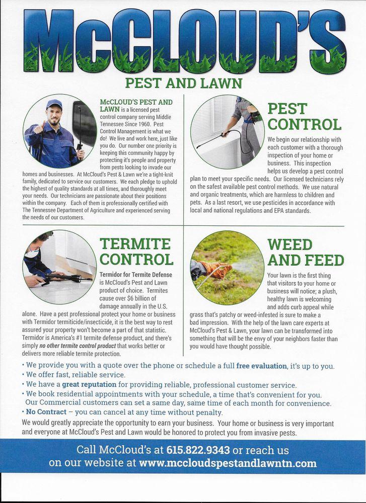 McCloud's Pest & Lawn: 700 W Main St, Hendersonville, TN