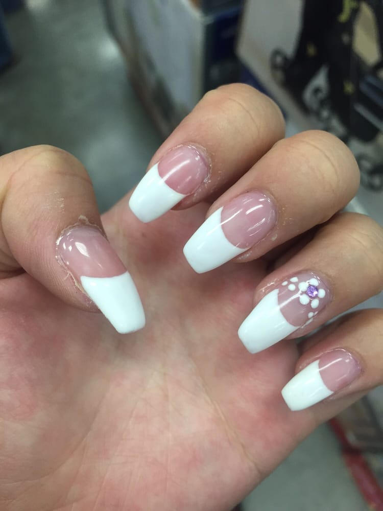 Left hand shown) Coffin-shaped gel french manicure with floral ...