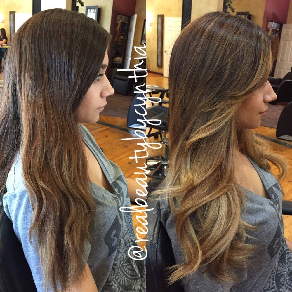 Before And After A Balayage Ombr Highlight With Face Framing Yelp