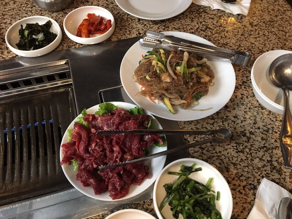 Bottom galbi marinated boneless short ribs bbq top jahp chae stir fry clear noodle with for Korea garden restaurant houston tx