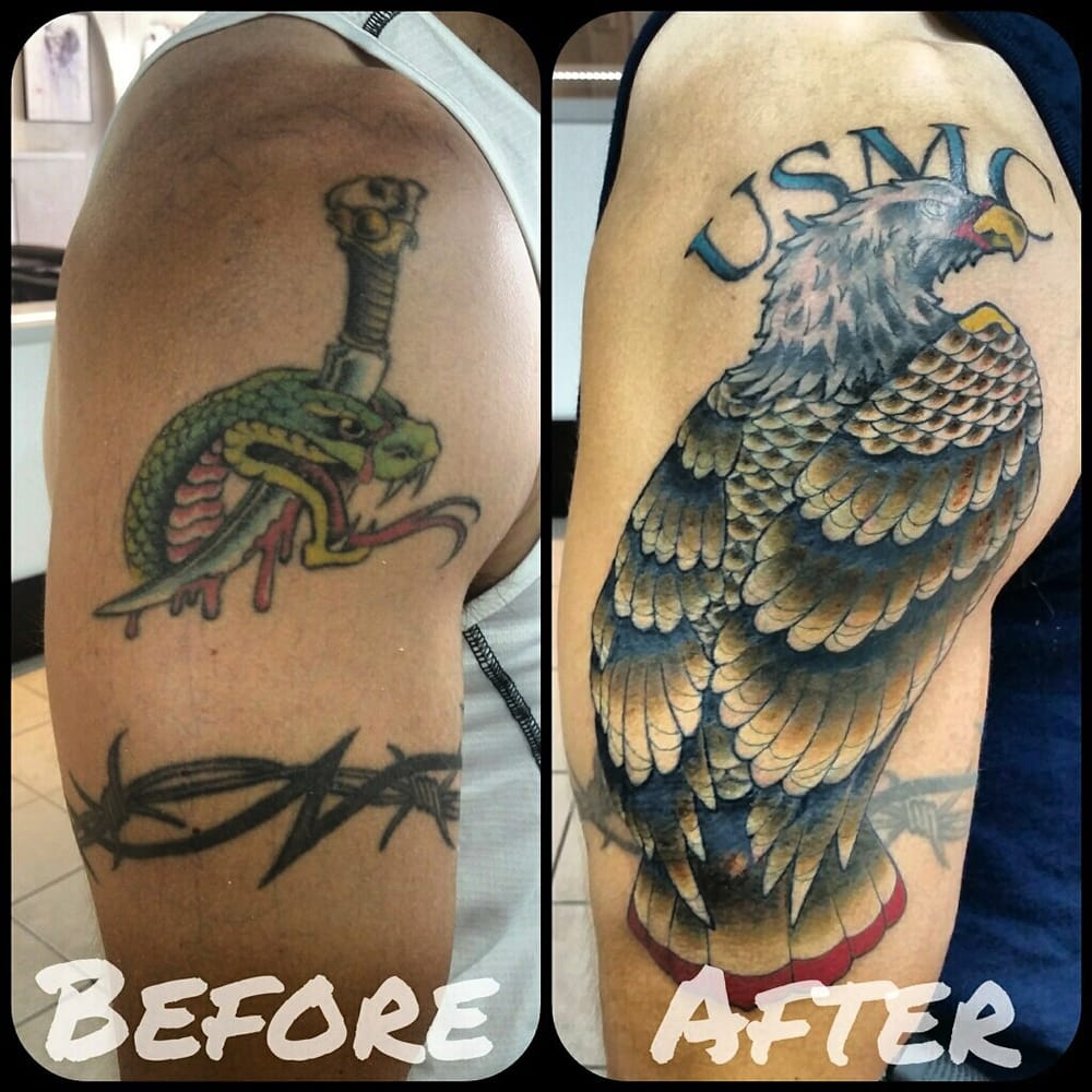 Usmc eagle cover up tattoo by angelo tiffe at royal for Chicago tattoo piercing co