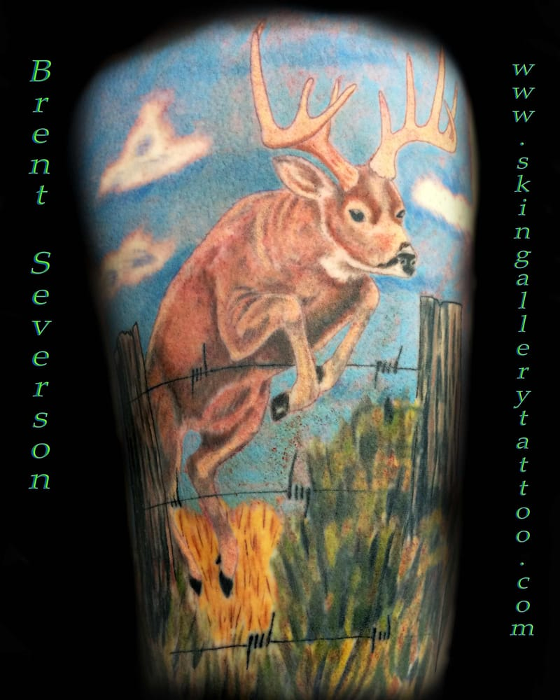 Wisconsin whitetail deer jumping fence done by brent for Whitetail deer tattoos