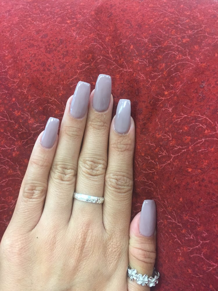 Coffin shaped nails done by Alene N. Love them!! Gel color is O.P.I. ...