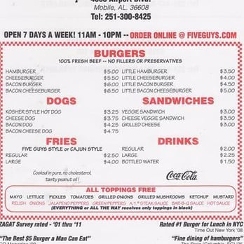 P O Of Five Guys Mobile Al United States You Always Get Your