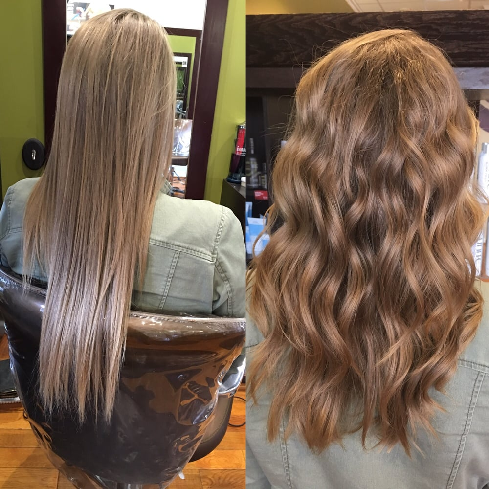 Before and after much healthier and perfectly styled by for 1st impressions salon