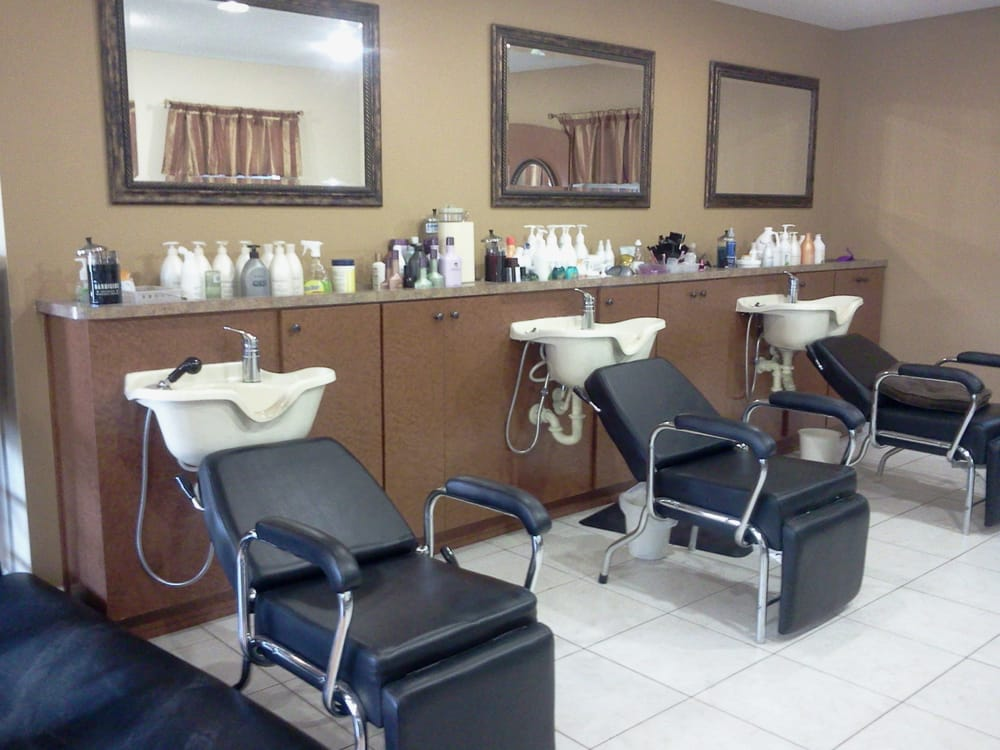 Custom built laminate shampoo stations at cut loose salon for 221 post a salon