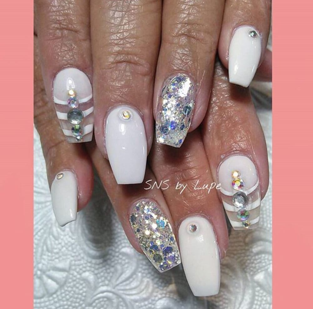 SNS nails with nail art design by Lupe ! - Yelp