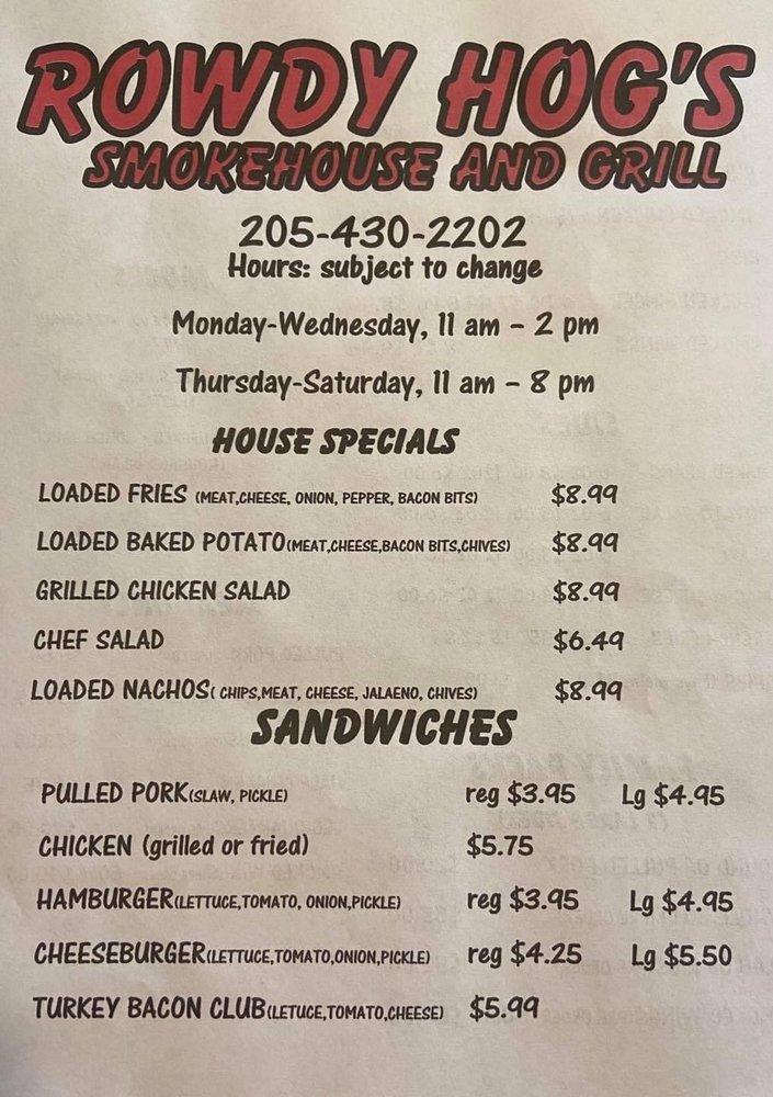 Rowdy Hog's Smokehouse And Grill: 373 South Clay St, Hackleburg, AL