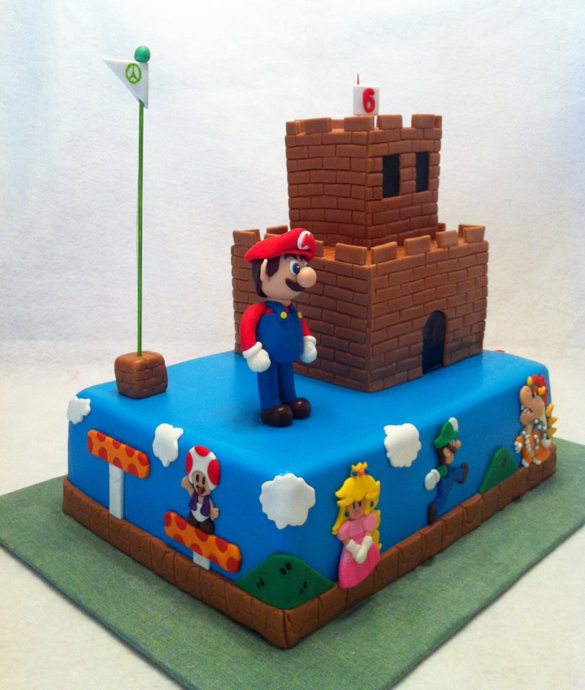 super mario bros cake with mario luigi princess toad and bowser castle is cake too yelp. Black Bedroom Furniture Sets. Home Design Ideas