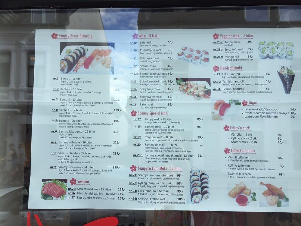 sammy sushi sandefjord meny