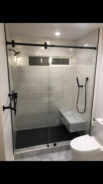 Sliding Barn Door Style Frameless Glass Shower Door With