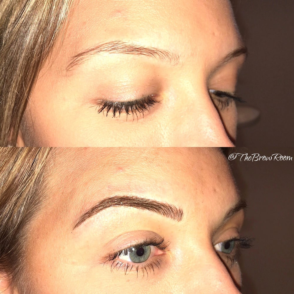 eyebrow microblading blonde hair. photo of the brow room cosmetic tattooing - burnaby, bc, canada. beautiful blonde eyebrow microblading hair e