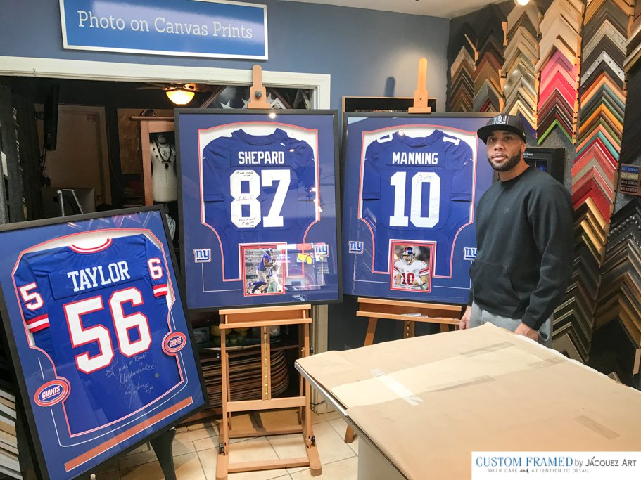 Three New York Giants Jerseys Custom Framed just in time for his