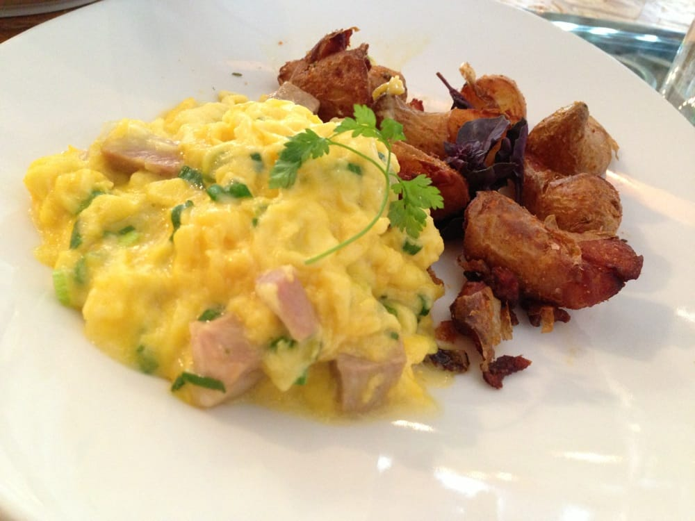 Photo of AQ Restaurant & Bar - San Francisco, CA, United States. Scramble and smashed fingerling potatoes