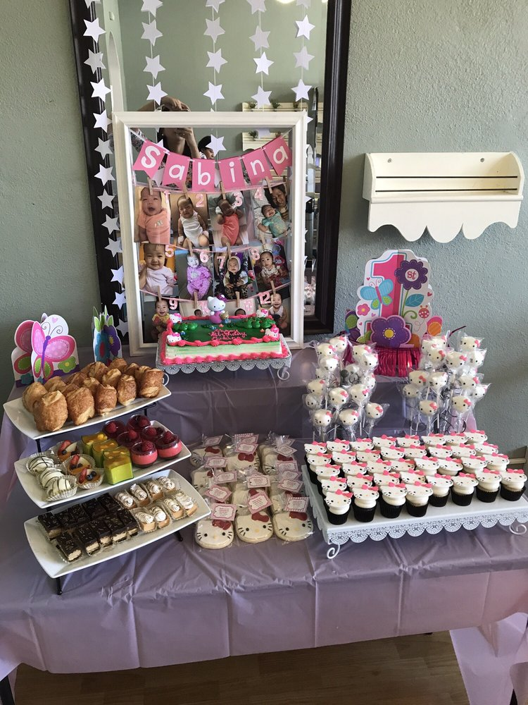 Dessert table setup for my daughters 1st birthday with a Hello