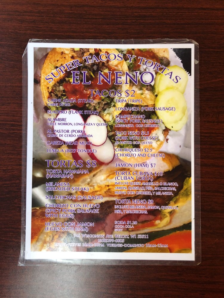 Food from Super Tacos Y Tortas El Neno