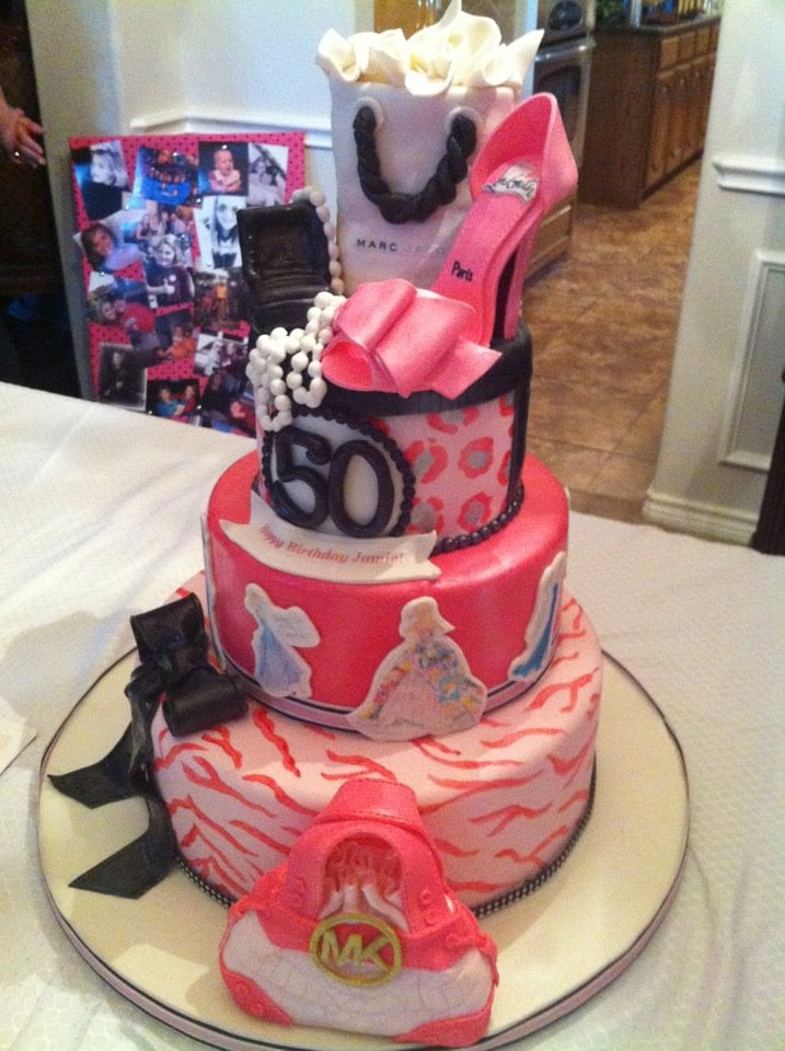Barbie Themed Cake For A 50th Birthday Celebration. Hand