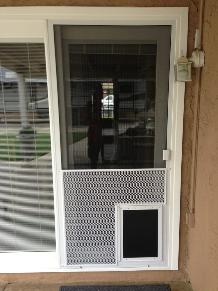 New Sliding Screen Door With Pet Grill And Pet Door Yelp