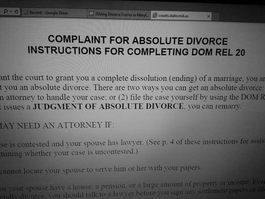 divorce maryland cannot be located