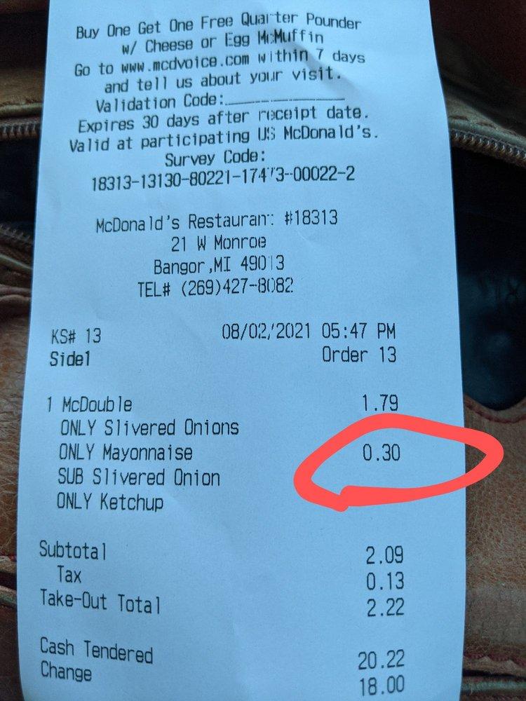 McDonald's: 21 W Monroe, Bangor, MI