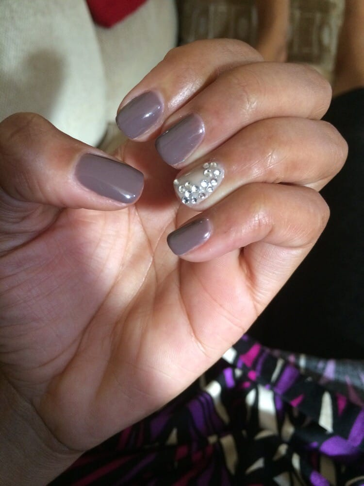 Acrylic Nails With Rhinestones On Ring Finger Envy Nail Spa