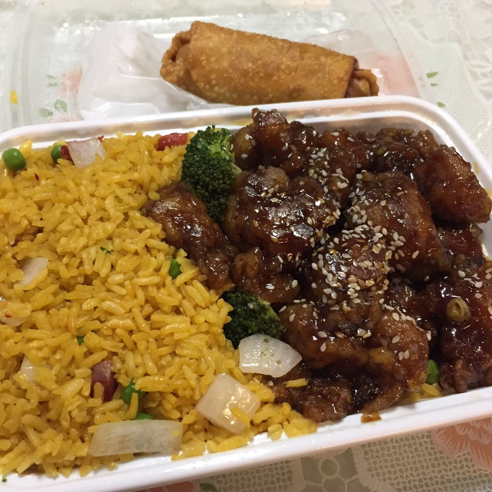 Chinese Food 10024: Sesame Chicken Combination Platter- Pork Fried Rice And