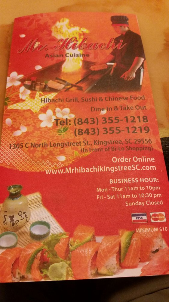 Mr Hibachi: 1305 N Longstreet St, Kingstree, SC