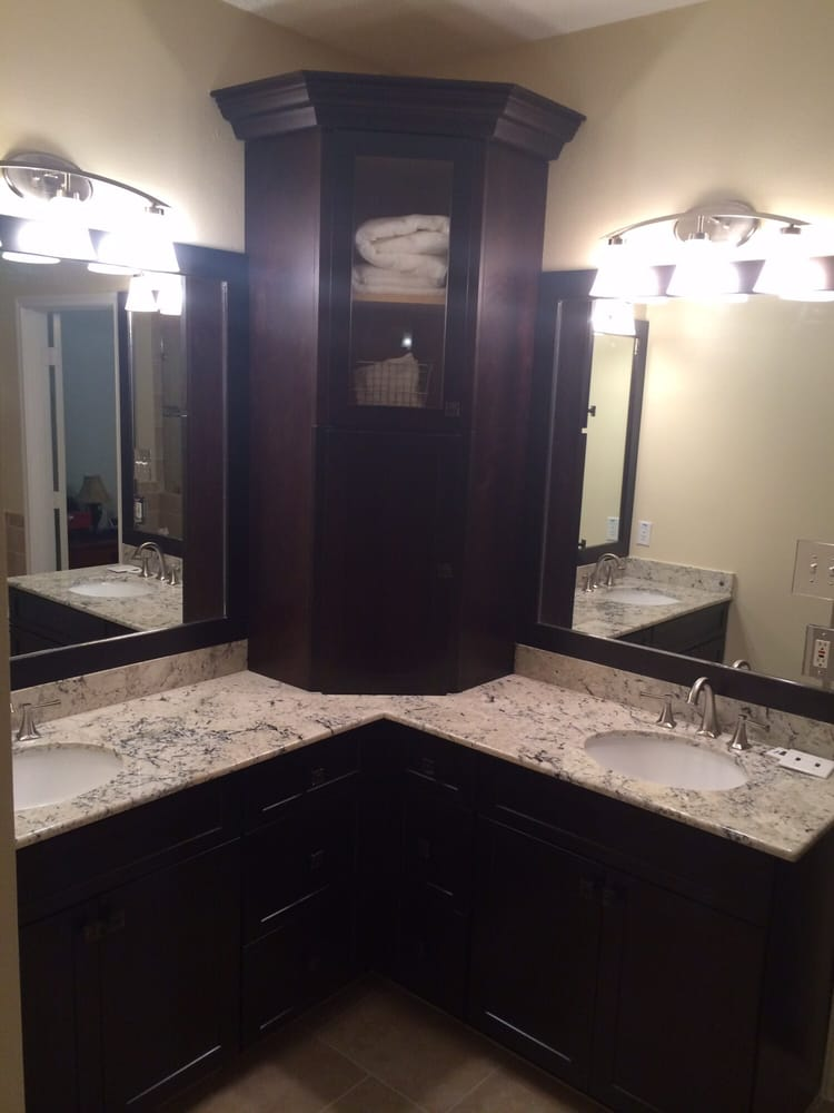 His And Her Sinks With A Corner Vanity Divider Yelp