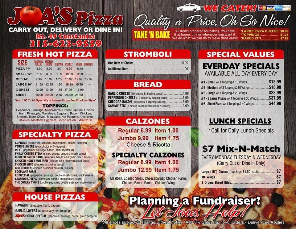Joa's Pizza: 1588 State Rt 49, Constantia, NY