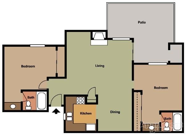 990 Sq Ft Dual Master Suite 2 Bedroom 2 Bathroom Yelp