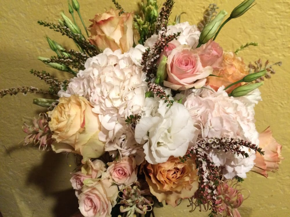 August Bridal Bouquet in Peaches: Garden Roses, Hydrangea, Rice ...