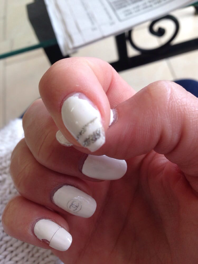 Day 2- acrylic peeling off and falling off in chunks, natural nail ...