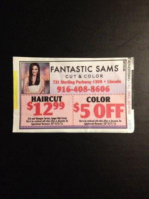 fantastic sams coupon lincoln ca
