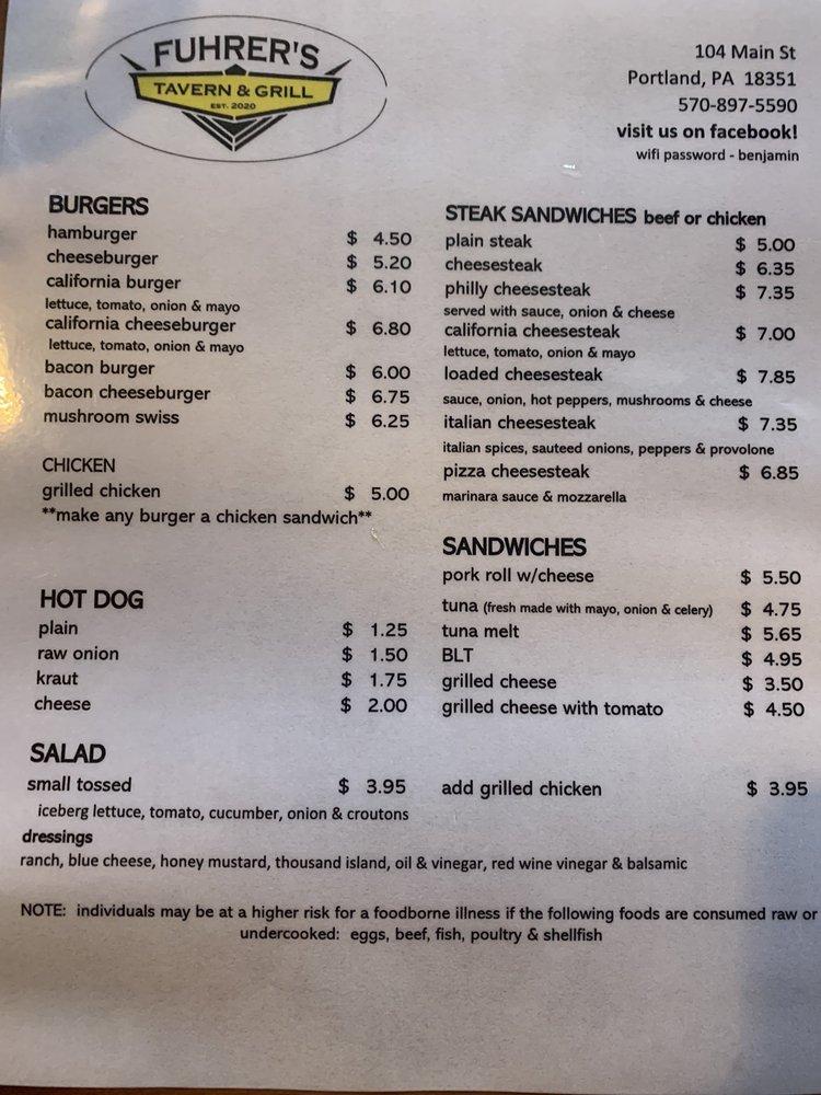 Fuhrer's Tavern & Grill: 104 Main St, Mount Bethel, PA