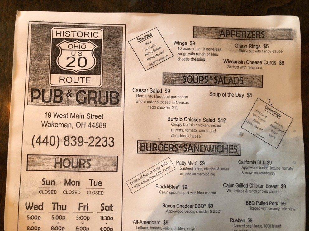 Historic Route 20 Pub & Grub: 19 W Main St, Wakeman, OH