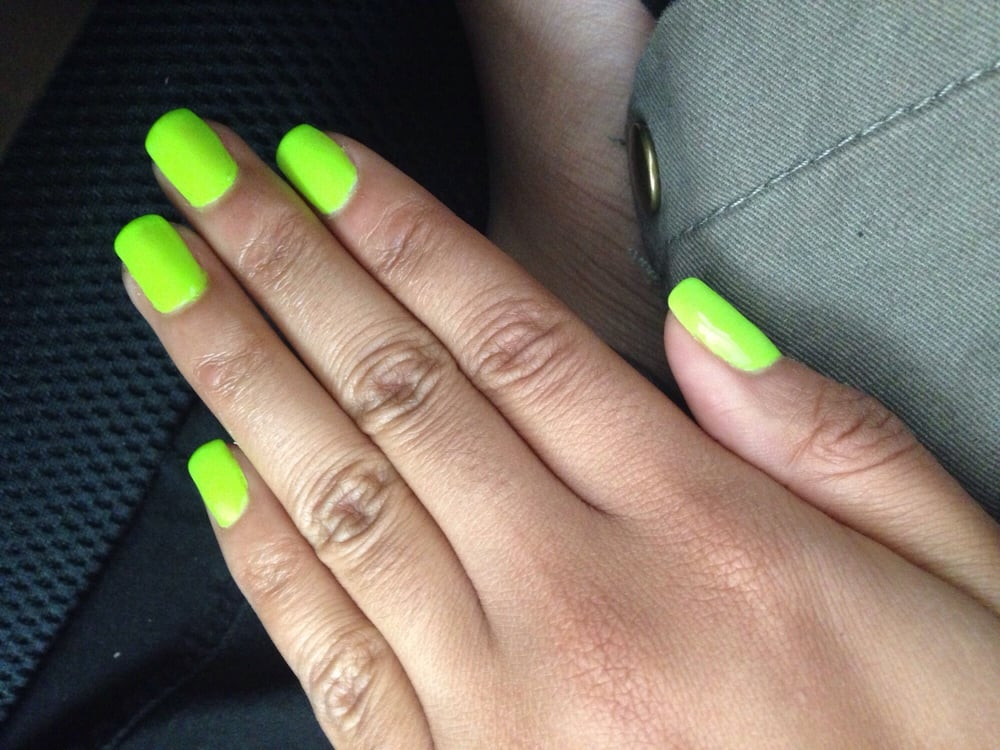 Photo Of Elite Nails Pasadena Ca United States Neon Green Gel Manicure