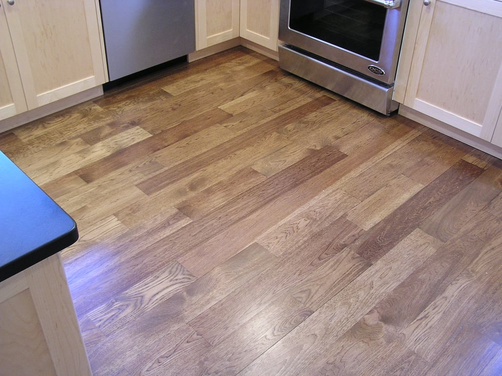 Custom stained wide plank hickory yelp for Light solid wood flooring