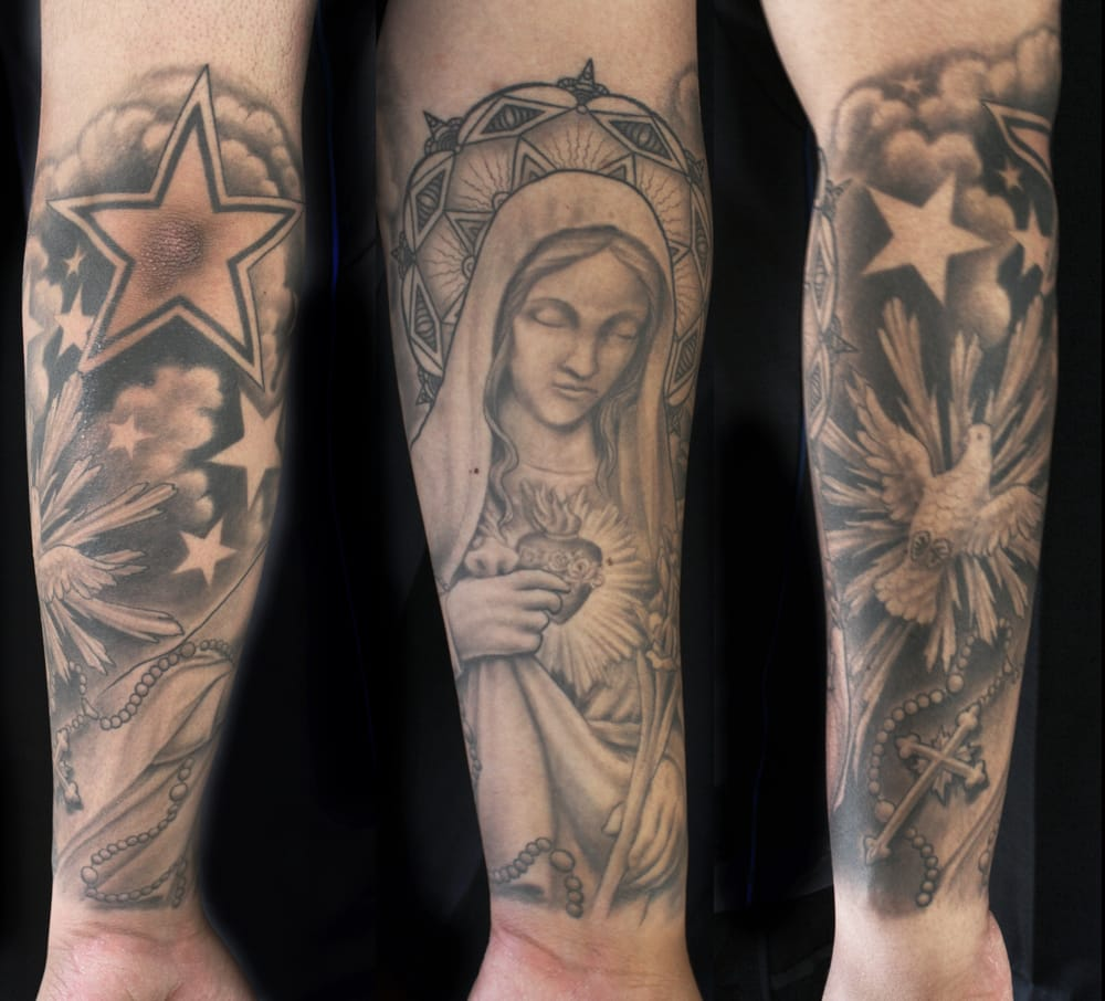 Religious catholic mother and cross with dove rosary for Are tattoos a sin catholic