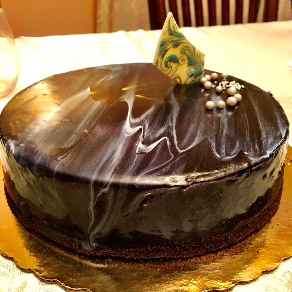 Dark Chocolate Mousse Cake With A Beautiful Marble Finish Yelp