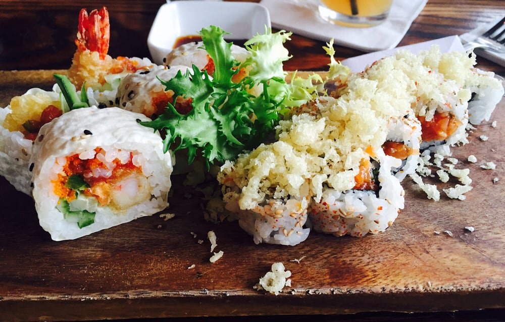 Crazy and spicy crunchy salmon rolls yelp for Aka japanese cuisine houston tx