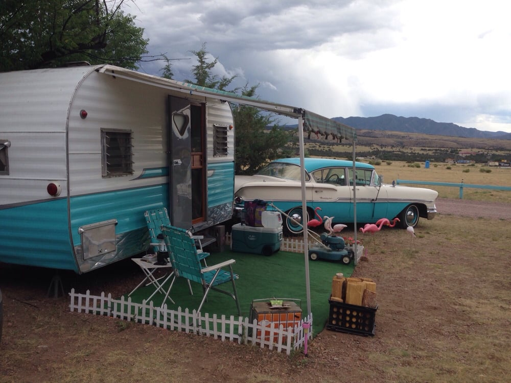 The Flamingo Vintage Trailer Just Outside Of The Picture Is A - Picnic table trailer